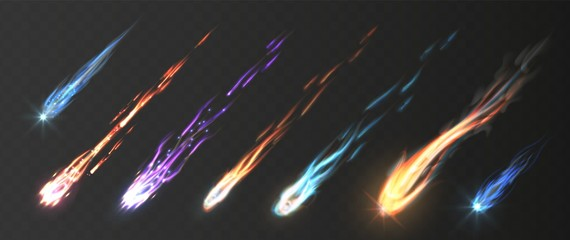 Comets and meteorite set. Vector realistic meteors and fireballs with fire trails. Meteor rain vector elements. Illustraiton fire trail, shooting glow in space, meteorite in galaxy