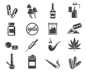 Drugs glyph icons set isolated on white background