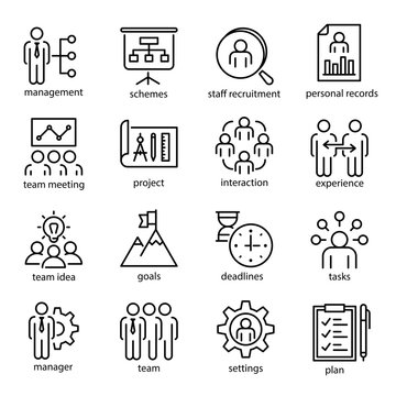 Management vector linear or outline isolated icons set
