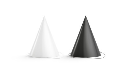 Blank black and white party hat mockup set, isolated