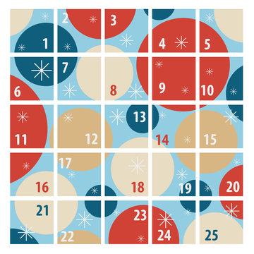 New Year minimalistic advent calendar for 25 days, vector illustration