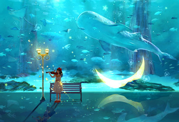 Aquarium, violin, music, purity, literature and art, small and fresh, illustration, beauty, girl, girl, fairy tale, fantasy, dream, dream, moon, little girl, street lamp, whale, night, beauty, ocean,