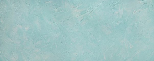 Turquoise texture background with cracks and scratches. Panorama in the form of a texture background with cracks, strokes, splashes for design and decoration. Abstract solid background. Wall mural