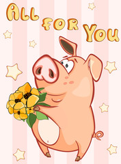 In de dag Babykamer Happy Birthday Card Little Pig with Gift Flowers. Vector Greeting Card. Happy Moment. Congratulation