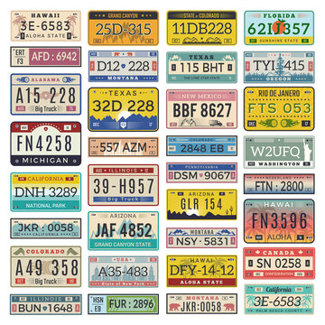 Car plates. Set of american vehicles automobile number license vector illustrations. Registration auto number, transportation information