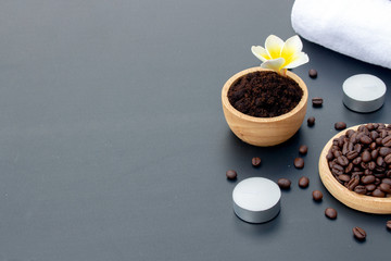 healthy skin concept. coffee skin scrub for spa with soft-focus and over light in the background