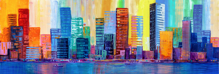 Artistic painting of skyscrapers.Abstract style. Cityscape panorama. Fotomurales