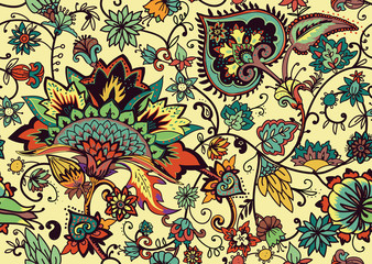 Deurstickers Marokkaanse Tegels Paisley. Seamless Textile floral pattern with oriental paisley ornament.