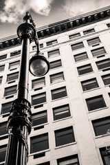 Wall Mural - Vintage street lamp and New York City architecture.