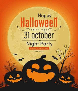 happy halloween night party banner vector design 2019