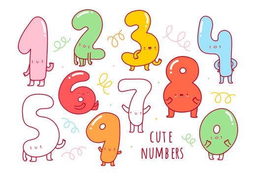 Hand drawn cute numbers with faces. Various emotions. Colorful vector set for kids. Educational illustration. Balloon shape numbers. Bright colors. All elements are isolated