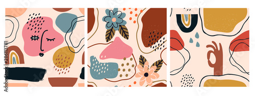 Wall mural Hand drawn various shapes and doodle objects. Set of three abstract contemporary modern trendy vector seamless patterns. Perfect for textile prints. Every pattern is isolated