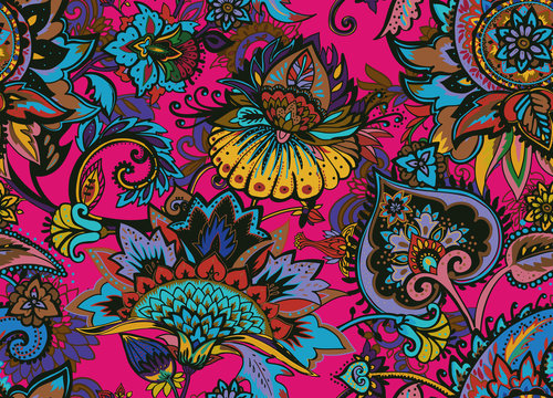Paisley. Seamless Textile floral pattern with oriental paisley ornament.