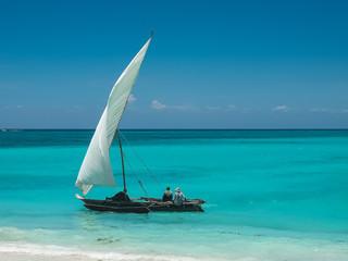 Poster Zanzibar Boat on azure ocean