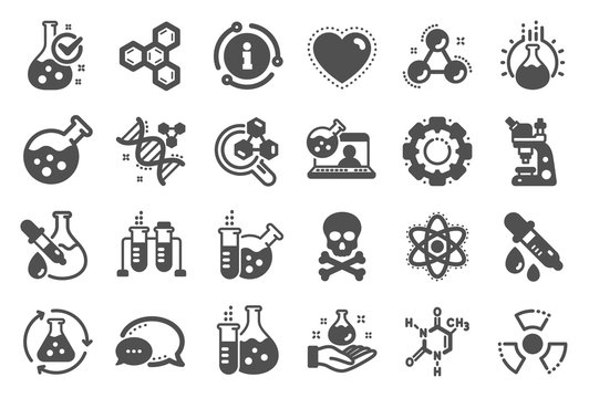 Chemistry lab icons. Chemical formula, Microscope and Medical analysis. Laboratory test flask, reaction tube, chemistry lab icons. Microscopic research, toxic radiation. Quality set. Vector