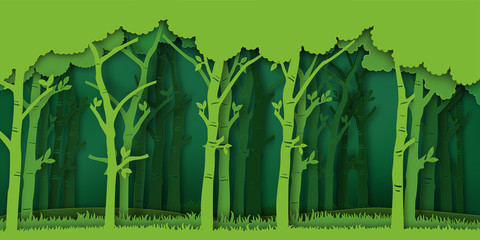 Paper art and digital craft style of Eco green nature background, forest plantation as ecology and environment conservation creative idea concept. Vector illustration. Wall mural