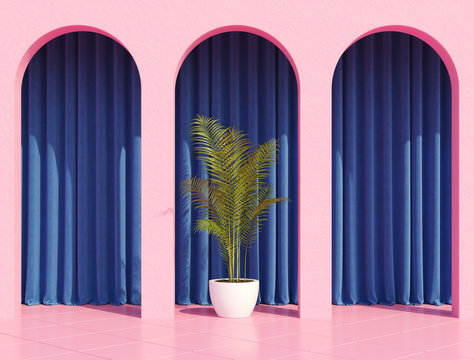 Pink arc column with colorful curtains and tropical home plant for retro poster like stranger things. 80s 70s 60s California Miami. 3d rendering