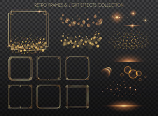 Retro frames and light effects collection.  Copper lights effects. Sparkle and glitter. Vector illustration. Wall mural