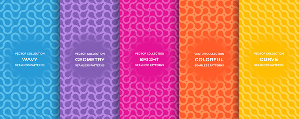 Set of bright vector colorful seamless geometric wavy patterns - creative design. Vibrant curly backgrounds, endless curve textures