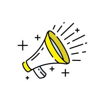 Loudspeaker icon. Megaphone sign. Announcement symbol. Line icon vector illustration.