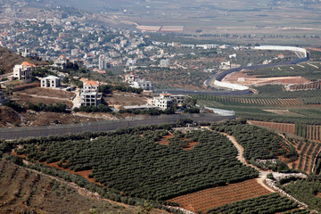 A general view picture shows buildings in the Lebanese village of Adaisseh, close to the Israel-Lebanon border, as seen from Kibbutz Misgav Am in northern Israel
