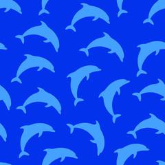 Foto op Plexiglas Dolfijnen Blue pattern with dolphins. Vector seamless pattern with dolphin silhouettes on blue background.