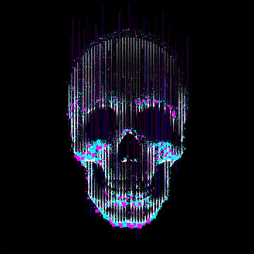 Vector glitch line- art skull  Human skull front view, enlightened from under, made by vertical lines and color particles and pixels.