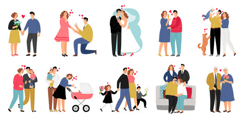 Stages of family. Development of relationship and marriage with child and parent, happy pregnant and couple with baby, vector illustration
