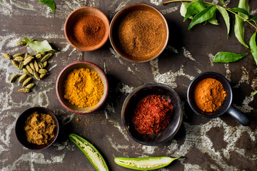 Overhead view of Indian spices