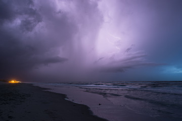 Intracloud lightning in a thunderstorm over the North Sea in the evening
