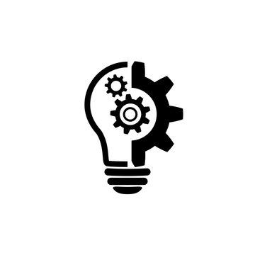 Lightbulb icon. Light bulb with cog symbol