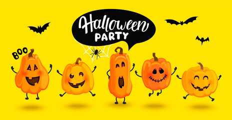 Monster pumpkins invite to Halloween party,banner, poster, greeting card. Cute characters with speech bubble,spider, web and bat. Vegetables in different poses,template for design.Vector illustration. Fototapete