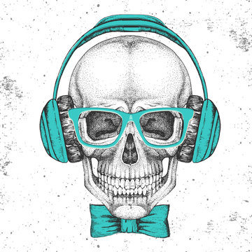 Hand drawing hipster illustration of skull with headphones on grunge background. Hipster fashion style