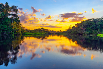 A magic sunset in the Amazon Rainforest inside Yasuni national park. The Amazon rainforest comprise the countries of Ecuador, Peru, Bolivia, Brazil, Colombia, Suriname, Venezuela, French Guyana.