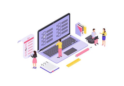 Online exam isometric color illustration