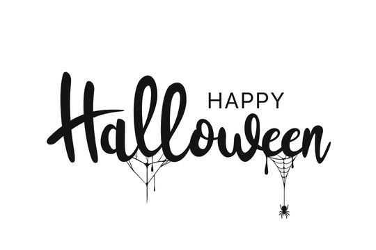 Happy Halloween lettering. Handwritten calligraphy with spider web for greeting cards, posters, banners, flyers and invitations. Happy Halloween text, holiday background