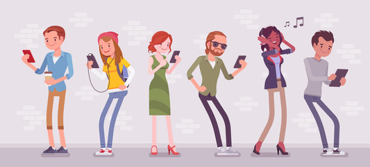 Young people with gadgets standing using smartphone to call, play games, watch movies, listen to music, communicate with friends via text messages, video chats. Vector flat style cartoon illustration