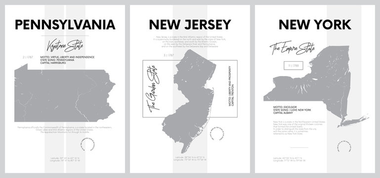 Vector posters with highly detailed silhouettes of maps of the states of America, Division Mid-Atlantic - Pennsylvania, New Jersey, New York - set 3 of 17