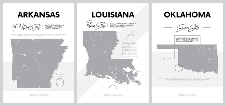 Vector posters with highly detailed silhouettes of maps of the states of America, Division West South Central - Arkansas, Louisiana, Oklahoma - set 12 of 17