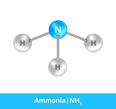 Vector ball-and-stick model of chemical substance. Icon of ammonia molecule NH3 consisting of nitrogen and hydrogen. Structural formula suitable for education isolated on a white background.