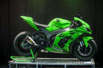 Mulhouse - France - 23 February 2019 - green KawasakiNinja at the exhibition  in Mulhouse