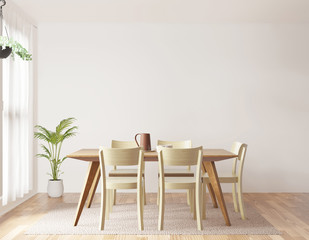 Dining room and kitchen copy space on white background, front view,3D rendering