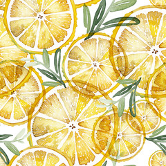 Seamless watercolor pattern with lemons on a white background.