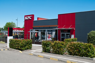 """MULHOUSE - France - 17 July 2016 - entry of the fast food """"KFC"""""""" signage"""