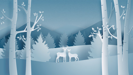 Deer couple in forest in paper cut style. Winter landscape with snow field in Christmas and winter season. Vector illustration design, poster, banner, wallpaper, backdrop. Fototapete