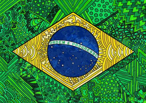 Brazil flag zentangle ornament national symbol grunge