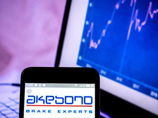 Kiev, Ukraine, March 16, 2019, illustrative editorial. Akebono Brake Industry Co., Ltd. logo seen displayed on smart phone.