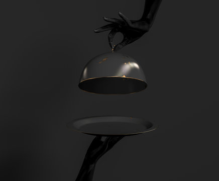 Black Dish with lid holding hands isolated on black, opened luxury restaurant cloche, launch time promo banner concept.  3d rendering