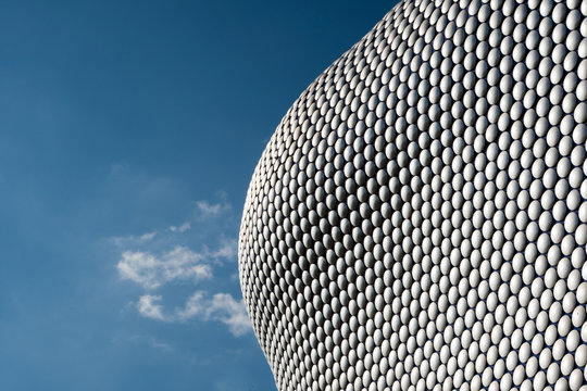 View of building facade made of metal discs, Birmingham, England, UK