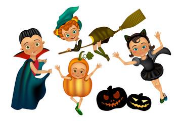 Halloween kids character in costume: pumpkin, black cat, dracula, witch Wall mural